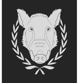 Wild boar head in laurel wreath Chalkboard vector image vector image