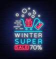 winter sale neon sign poster bright vector image