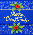 christmas card with holly branches vector image