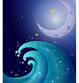 An image of a big wave and a moon vector image vector image