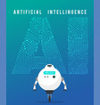 artificial intelligence and smart robot on blue vector image vector image