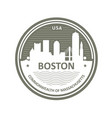 badge with boston skyline - boston city emblem vector image
