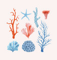 beautiful set with underwater watercolor vector image