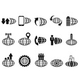 black global business icons set vector image vector image