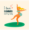 body positive happy plus size girl are dancing vector image vector image