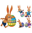 brown rabbits and easter eggs vector image vector image