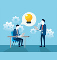businessmen with gears and chat bubble with bulb vector image