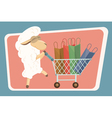 Card with baby lamb and shopping bags vector image