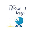 cartoon blue baby boy carriage vector image