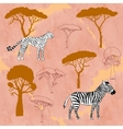 Cheetah zebra and savanna trees vector image vector image