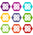 cmyk circles icon set color hexahedron vector image vector image