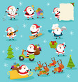 collection cute santa characters vector image vector image