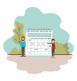 couple with calendar reminder in landscape vector image vector image