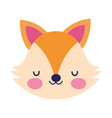cute fox face toy cartoon character icon vector image vector image
