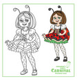 cute girl in carnival costume ladybug color vector image vector image
