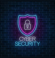 cyber security glowing neon sign on dark brick vector image
