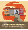 Denmark landmarks Retro styled image vector image vector image