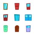 Door icons set cartoon style vector image vector image