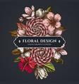 floral bouquet dark design with hibiscus plum vector image