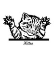funny kitten jumps out - peeking kitty - cat head vector image vector image