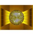 Golden disco ball on golden metallic environment vector image vector image