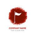 golf flag icon - red watercolor circle splash vector image