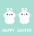 happy easter two bunny rabbit love couple set vector image