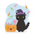 happy halloween in hat and pumpkin full vector image vector image