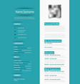 professional blue white resume cv with design vector image vector image