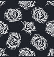 seamless pattern with hand drawn chalk roses vector image vector image
