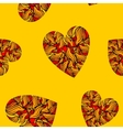 Seamless pattern with hearts on yellow background vector image vector image