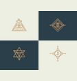 set abstract linear isoteric logos golden vector image