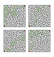 set of four labyrinth shape design element vector image