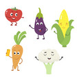 set of funny characters from vegetables vector image vector image