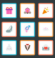 set of marriage icons flat style symbols with gift vector image