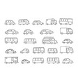 set of sketch different transparent cars buses and vector image vector image