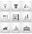 Set of square application buttons restaurant vector image vector image