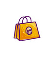 shopping bag with skull for halloween vector image vector image