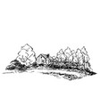 sketch of countryside house surrounded by trees vector image