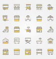 street food colorful icons design elements vector image vector image