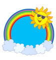 sun in sunglasses in rainbow circle vector image vector image