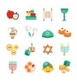 Symbols Of Hanukkah Icons Set vector image