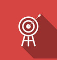 target with arrow icon isolated with long shadow vector image vector image