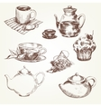 Tea set vector image