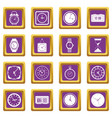 time and clock icons set purple vector image vector image