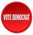 vote democrat red round flat isolated push button vector image vector image