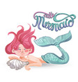 watercolor painting with cute mermaids crab vector image