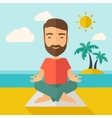 Man doing yoga in the beach vector image