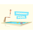 Man jumping Swimming pool with a diving board vector image