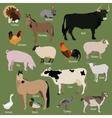 Set of farm animals icons Flat style design vector image